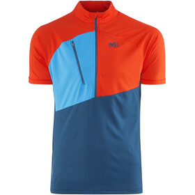 Millet M's Elevation Short Sleeve Zip Shirt poseidon/orange